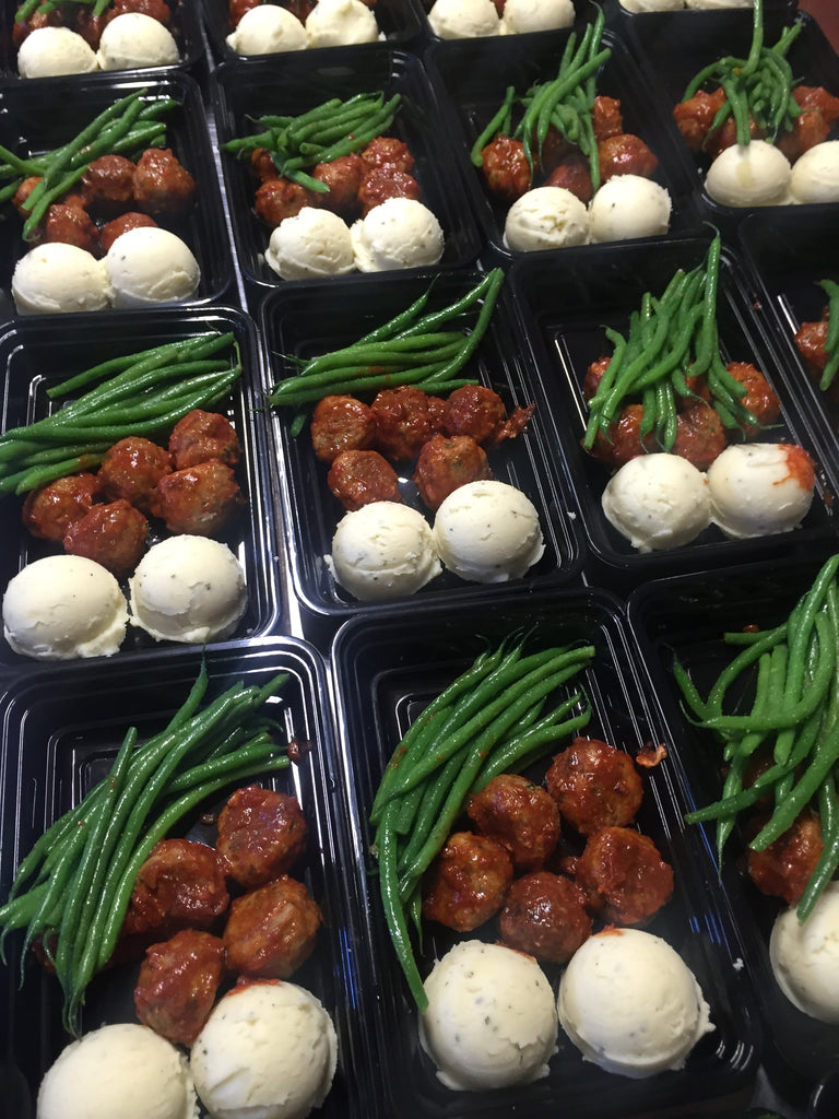 BBQ Turkey Meat balls Sweet Potato Mash & Green Beans
