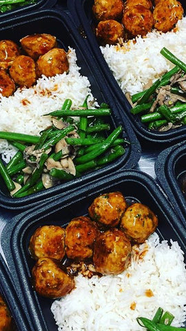 Sweet & Spicy Turkey Meatballs w Mushroom Green beans & Rice