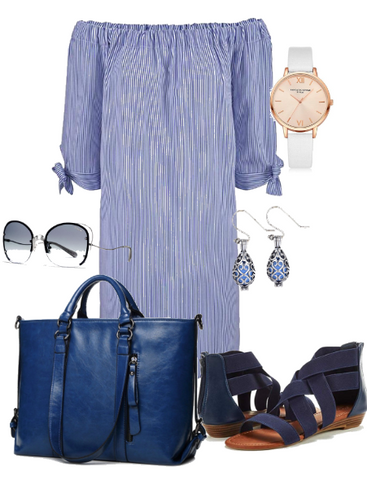 Navy Blue Stripe Outfit