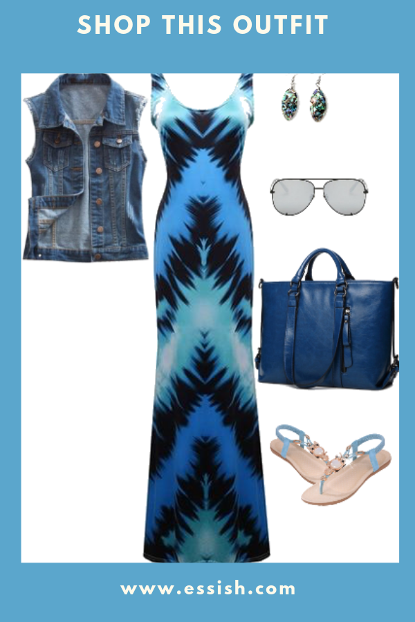 Stylish Tye Dye Dress w/ Jean Vest