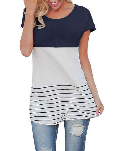 Fashion Women Summer Back Lace T-shirt Short Sleeve Stripes T-shirts Casual Tees Tops