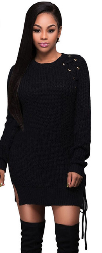 Women Lace Up Side Short Sweater Dress Winter Long Sleeve Knitted O neck Slit Casual Dresses