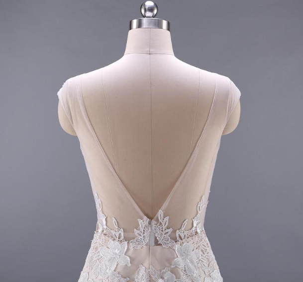 b2d452a3a4 ... Sexy Backless Floral Appliques Sexy Wedding Dress Champagne Color  Mermaid Wedding Dresses ...