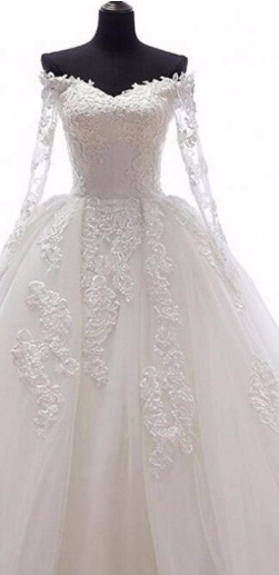 Romantic Ball Gown Wedding Dress With Long Sleeves Appliques Detachable Skirt Bridal Gowns