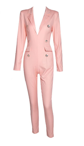 Sexy Deep-V Long Sleeve Button Pink Color Jumpsuit