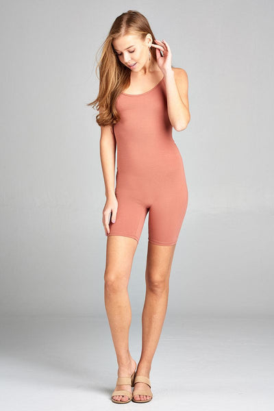 Ladies fashion low cut scoop neckline back open w/strappy cotton spandex bodycon romper