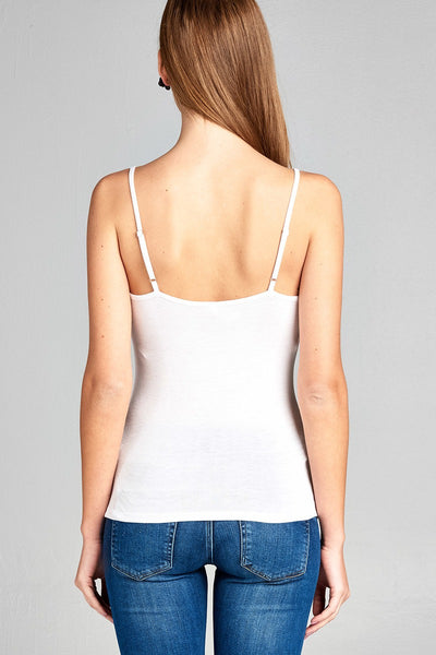 Ladies fashion cross strap front rayon spandex cami top