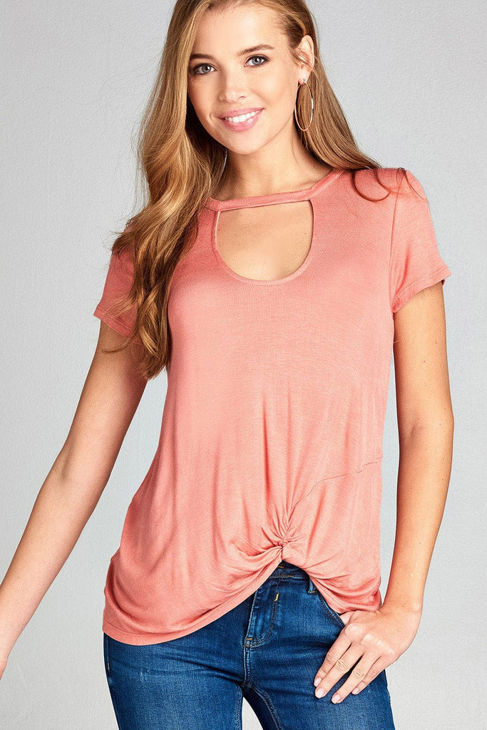 Ladies fashion short sleeve choker v-neck front twist hem rayon spandex top