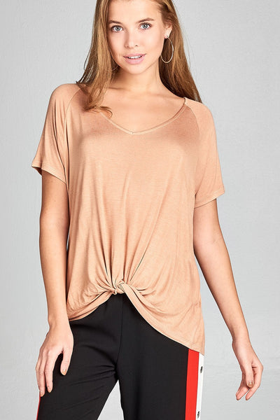 Ladies Fashion Short Raglan Sleeve Front Twisted Rayon Spandex Top