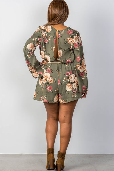 Ladies Fashion Plus Size Plunging Surplice Foral Print Romper
