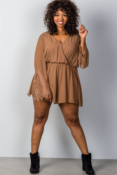 Ladies Fashion Plus Size Lace Shoulder Romper