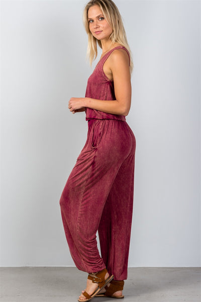 Ladies fashion super soft elastic waist trouser jumpsuit