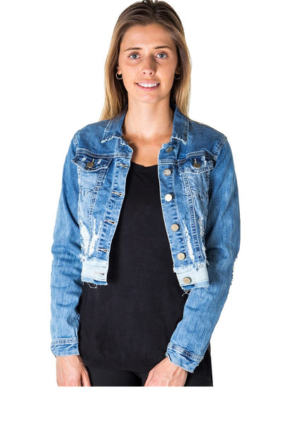 Ladies fashion cropped distress denim jacket