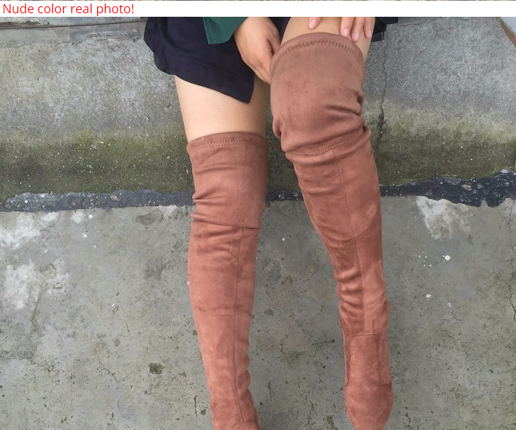 51f012b9de56 Women Stretch Faux Suede Slim Thigh High Boots Sexy Fashion Over the Knee –  Essish