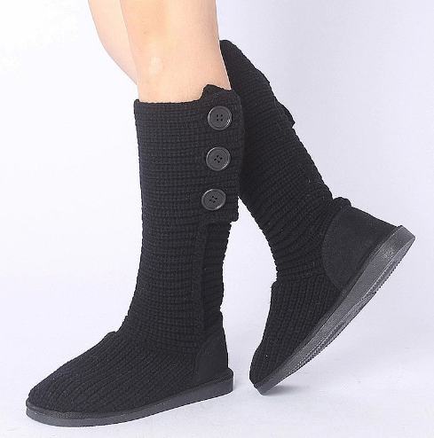 Two Ways Wear 2016 New Women Knitted Snow Boots Autumn Winter Keep Warm Rubber Sole Flat With Shoes Fashion Button Ankle Boots