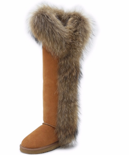 Fox Fur Tall Thigh Winter Long Snow Boots