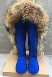 INOE Fashion Style big girls fox fur tall thigh winter snow boots for women winter shoes real leather lady long boots