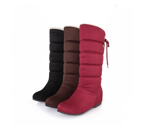 New Women Nubuck Leather Snow Boots Casual Winter Shoes Waterproof Thick Warm Fur Inside Mid-Calf Boots