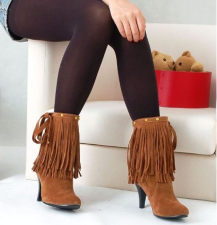 Fringe Embellished High Heel Boots