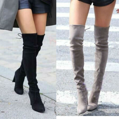 Women Stretch Faux Suede Slim Thigh High Boots Sexy Fashion Over the Knee Boots High Heels Woman Shoes Black Gray Winere
