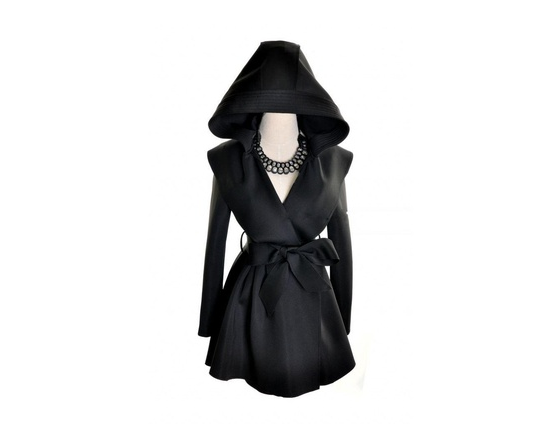 Womens Hooded Long Trench Belted Coat