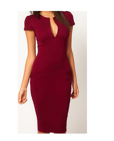 Sexy Vestidos 2015 Fashion Summer Women Pencil Dress Deep V Neck Short Sleeve Ladies Work Dress Slim Sheath Bandage Dress