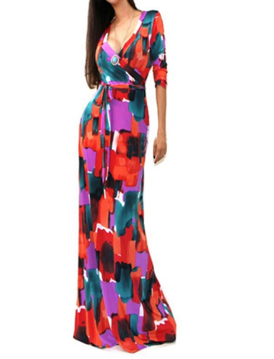 Summer Fashion Sexy Deep V Dress Women Package Hip Maxi Dress Fashion Long Printed Dress Women Club Dress Vestido