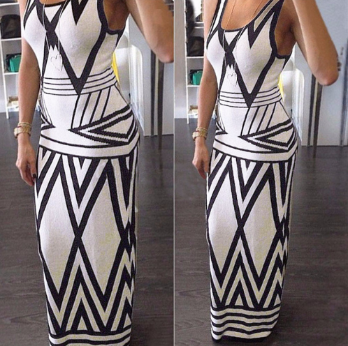 Women Geometric Print Summer Long Maxi DressFashion Casual Sleeveless Bodycon Party Dresses Plus Size Vestidos White