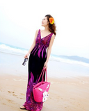 New Women Bohemian Peacock Tail Hawaiian V Neck Long Beach Dress Sundress