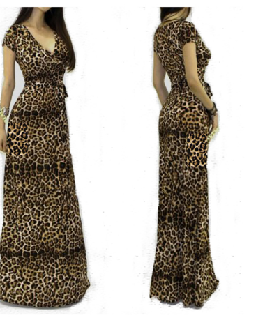 Women Sexy V-neck Short Sleeve Maxi Leopard Dress
