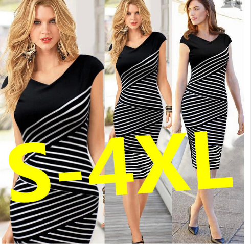 Stripe Pencil Dress Plus Size Casual Long Dress Party Maxi Dress