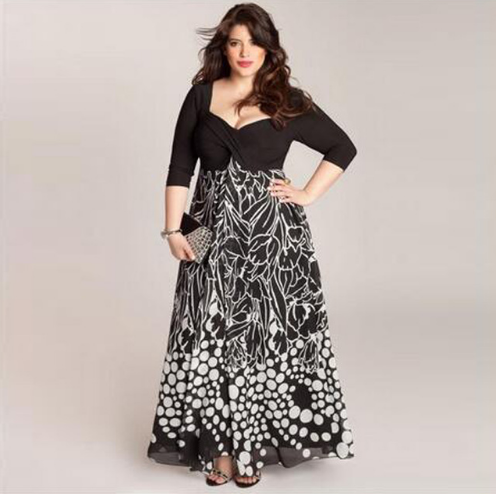 Plus Size Women Clothing Female Fashion Print Loose 6XL Strapless Dress Ankle-Length Dresses