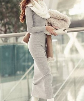 V-neck Maxi Tight Knit Long Dress