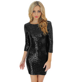 New Sexy Bodycon Women Dress Glitter Sequin Back Zipper Bandage Dress Robe Sexy Club Party Evening Mini Dress