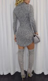High Neck Sexy Bodycon Dress Grey