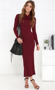 Back Slit Long Sleeve Sexy Maxi Dress