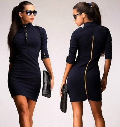 Winter Autumn Women Fashion casual Sexy Bodycon Dress With Zipper