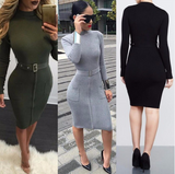 Autumn Winter Elegant Dress Casual Office Warm Cashmere Long Sleeve Zipper Dress Plus Size Belt