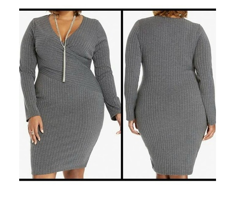 Women's Plus Size Sexy Solid Fashion Sweaterdress