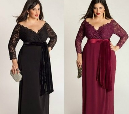 Plus Size Lace Dress V-neck Maxi Evening Dress