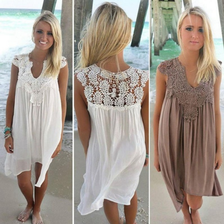 New Fashion Women Casual Chiffon Dress V Neck Short Sleeve Lace Crochet Patchwork Hollow Out Mini Loose Beach Dress Plus Size