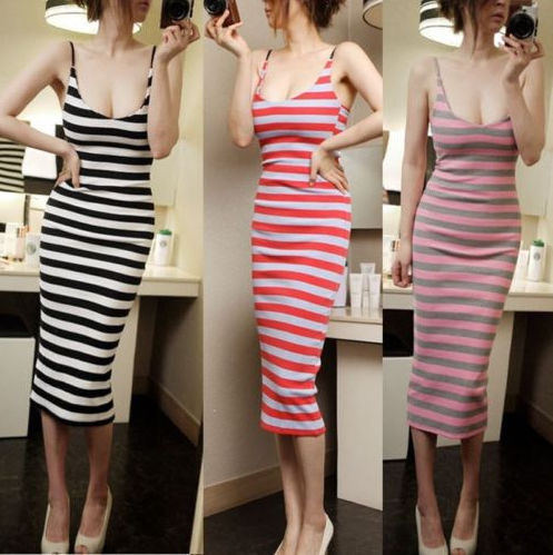 2016 Summer Stripe Sundress Women V-neck Long bodycon Dresses Beach Maxi Dress Female Sexy Vestidos robe longue femme