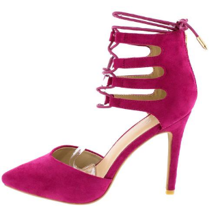 HOT PINK LACE UP CUT OUT HEEL