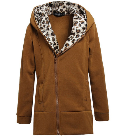 Winter Warm Women Hoodies Outerwear Coat Fashion Ladies Hoody Sweatshirts Slim Leopard Coat Jacket