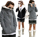 Autumn Winter Women Sweatshirt Warm Thick Fleece Hooded Coat Casual Long Sleeve Basic Jackets Outerwear Plus Size