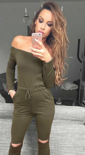 Sexy Off Shouder Long Sleeve Jumpsuit Romper