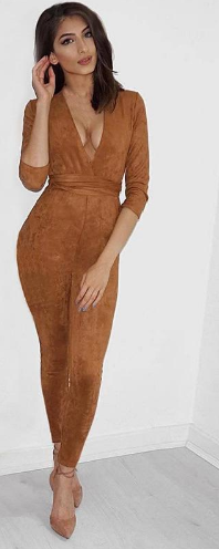 Deep V Neck Suede Belt Bodycon Jumpsuit Romper