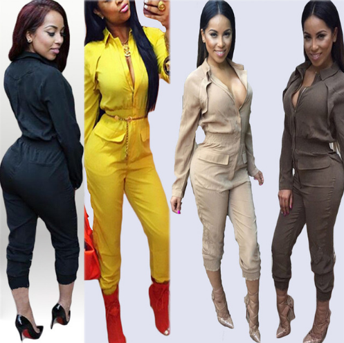 Fashion Women Full Sleeve Turn-Down Collar Zippers Full Pants Womens Bodysuit Sexy Night Club