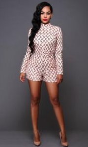 High Collar Quality Sexy Sequin Playsuit