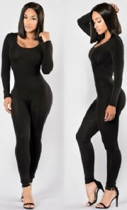 Long Sleeve Sexy Black Bandage Jumpsuit